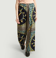 Printed lyocell loose trousers