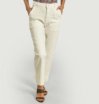 Pantalon droit en coton taille haute