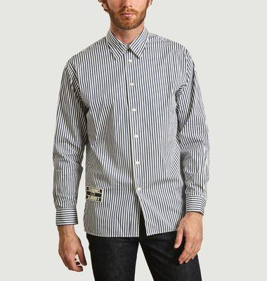 Chemise rayée boxy fit avec patch logotypé