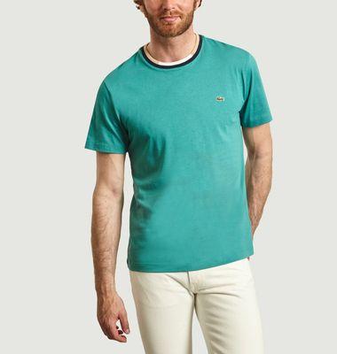 T-shirt en coton à col contrasté