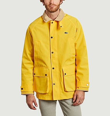 Canvas jacket with corduroy contrasting collar