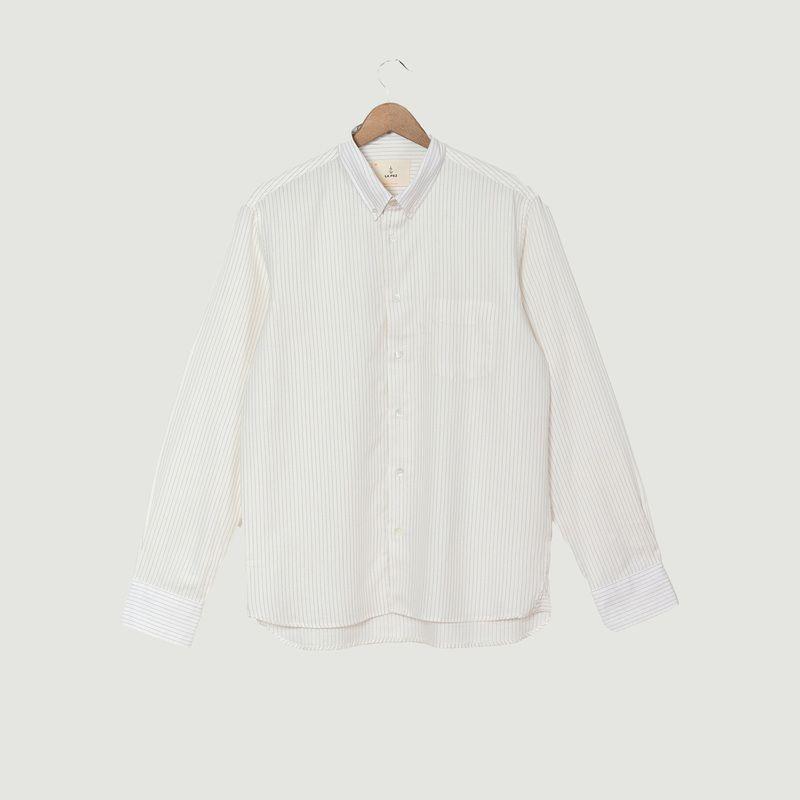 Chemise Branco rayée coton et laine - La Paz