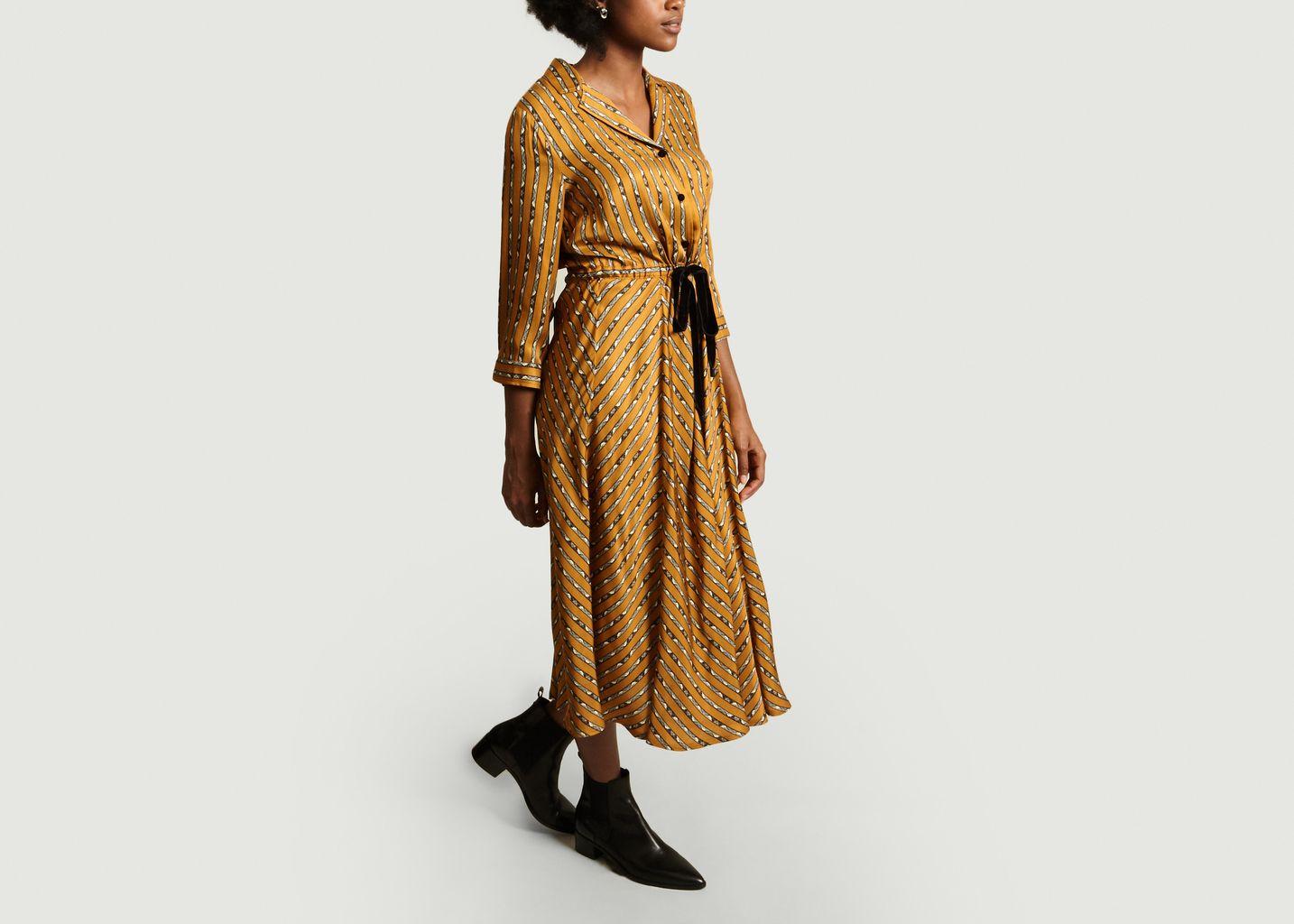 Robe Mi-Longue Richesse Imprimé Rayures - La Petite Française