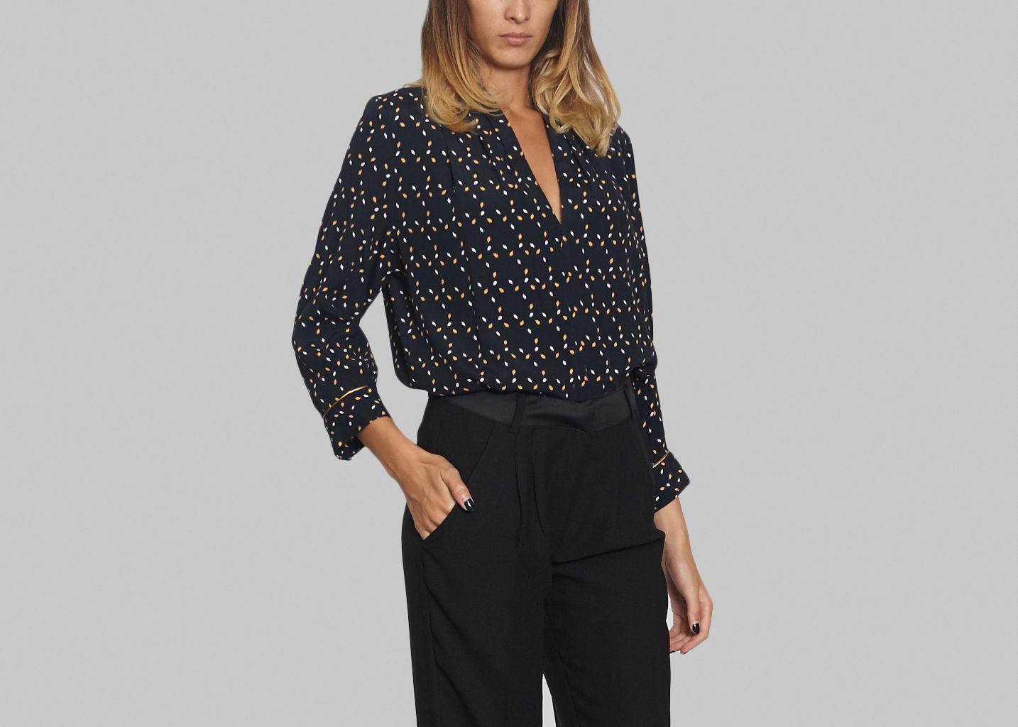 blouse brochant la petite fran aise bleu marine l 39 exception. Black Bedroom Furniture Sets. Home Design Ideas