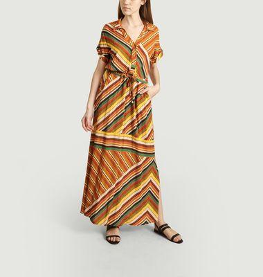 Robe longue Rayonnante imprimé rayures