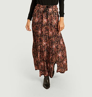 Janis flower print with lurex long skirt