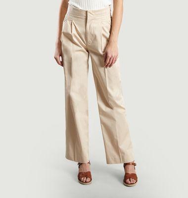 Pantalon en Coton à Pinces