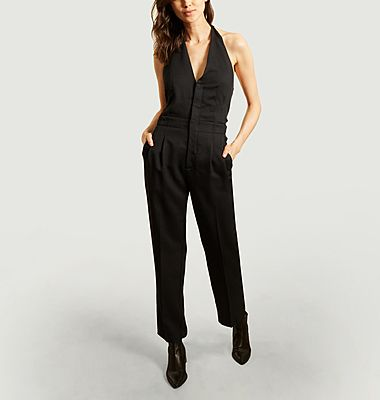 Wool bare back sleeveless jumpsuit