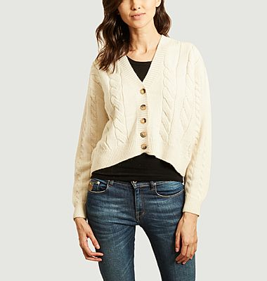 Cable knit asymmetric cardigan
