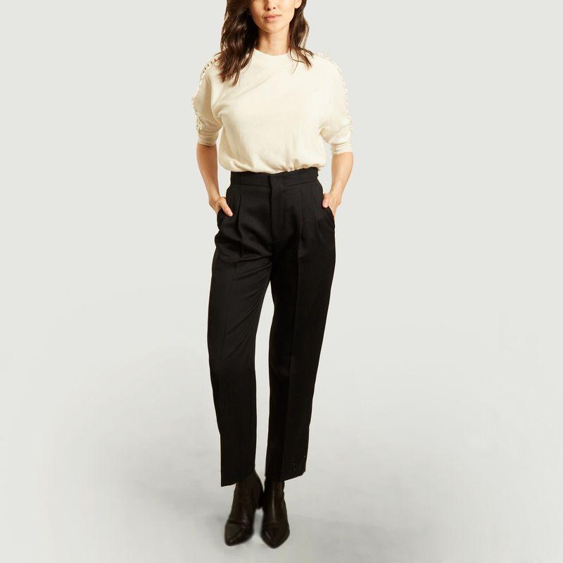 Pantalon à plis taille haute en laine - Laquintane