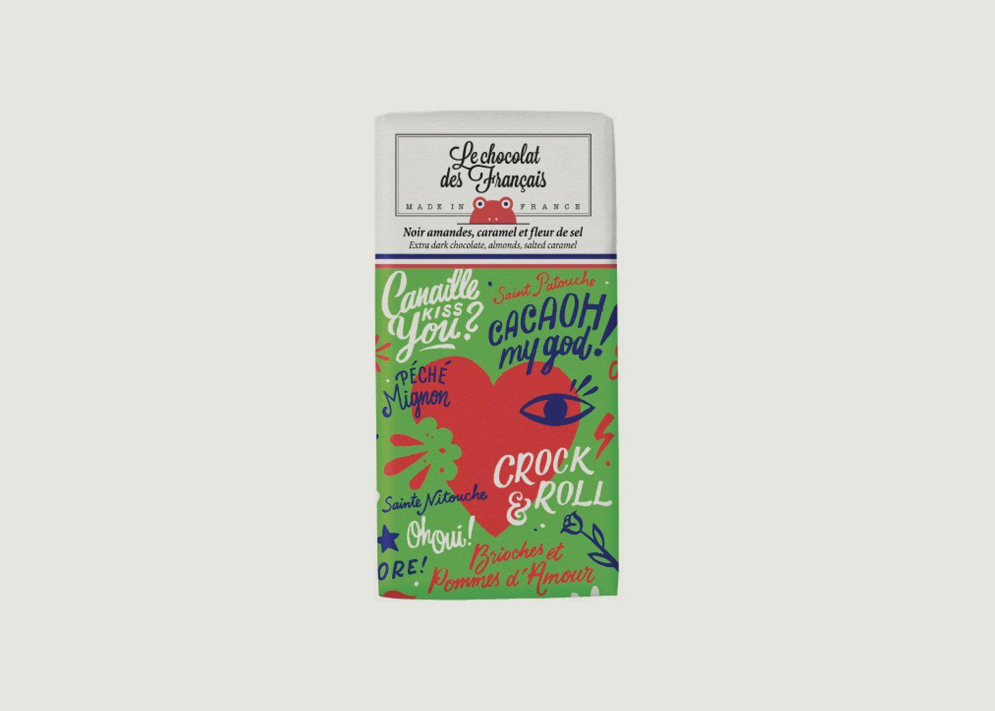 Tablette Chocolat Noir Amandes Caramel Salé Bio Le Coeur - Le Chocolat des Français