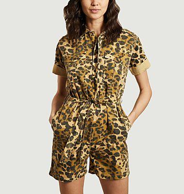 Combi-short imprimé léopard en coton bio Orane Félin