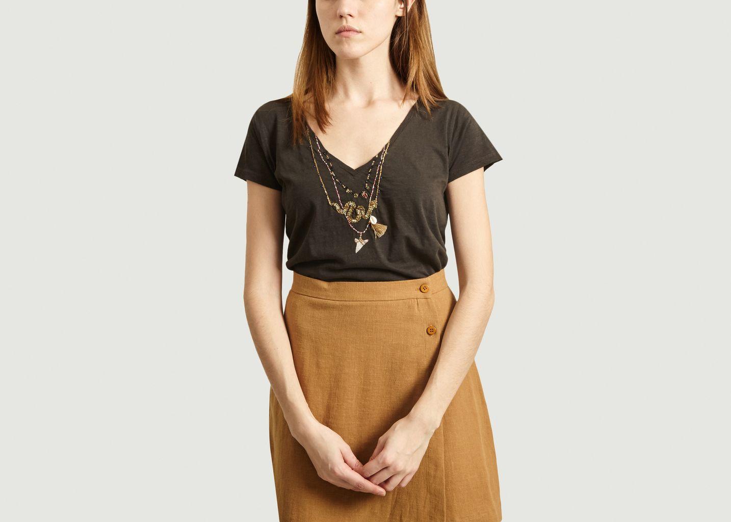 T-shirt brodé colliers Tonton Snake - Leon & Harper