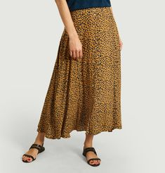 Jacinthe midi skirt with leopard print