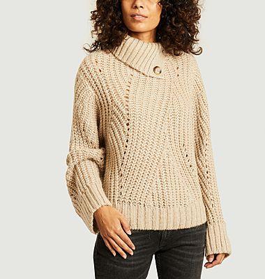 Loan Plain buttoned high collar sweater
