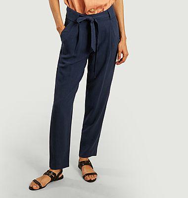 Pantalon ceinturé en coton bio Almond