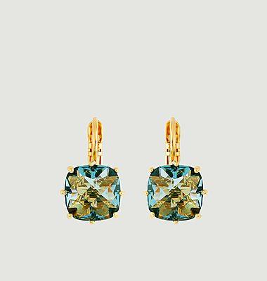 Boucles d'oreilles dormeuses pierre carrée La Diamantine