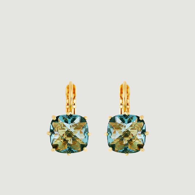 Boucles d'oreilles dormeuses pierre carrée La Diamantine - Les Néréides