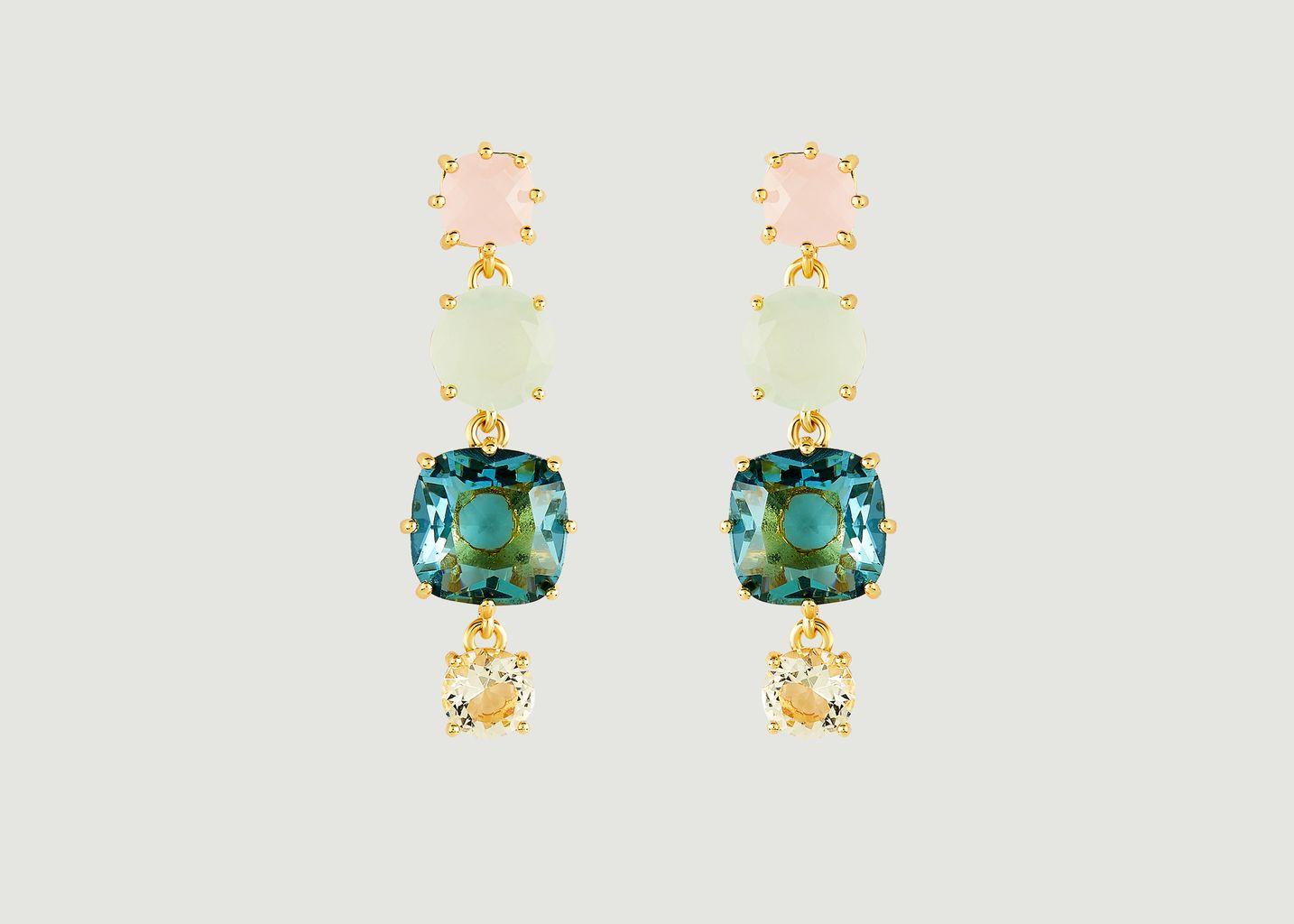 Boucles d'oreilles La Diamantine tiges 4 pierres - Les Néréides