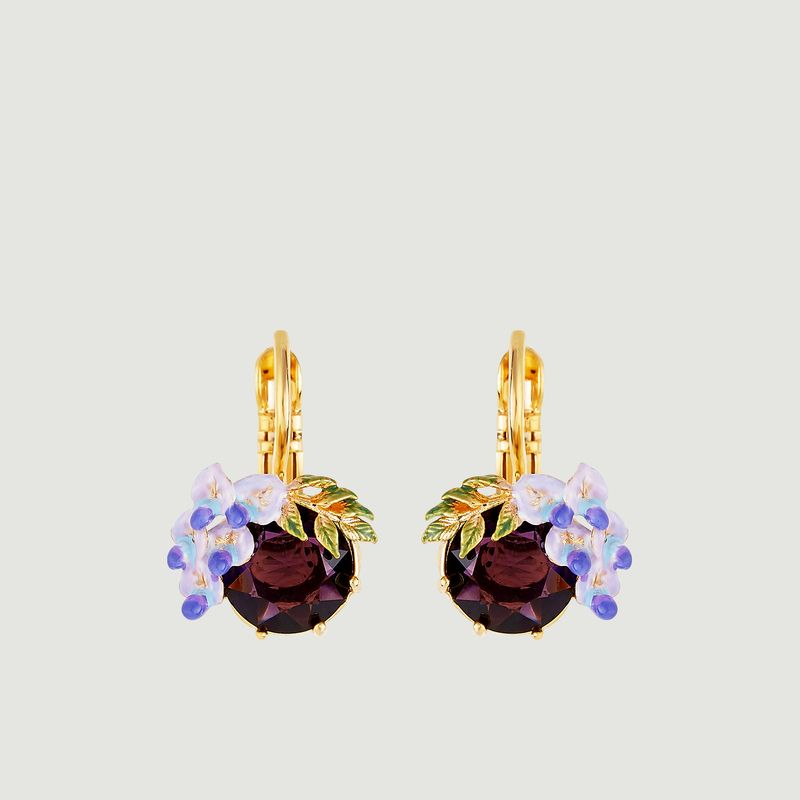 Boucles d'oreilles dormeuses Petite Fleur de Glycine - Les Néréides