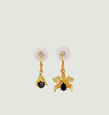 Boucles d'Oreilles Tiges Orchidée Flamboyante