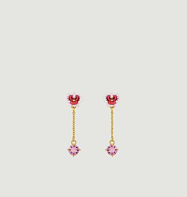 Boucles d'oreilles pendantes Orchidée Papillon
