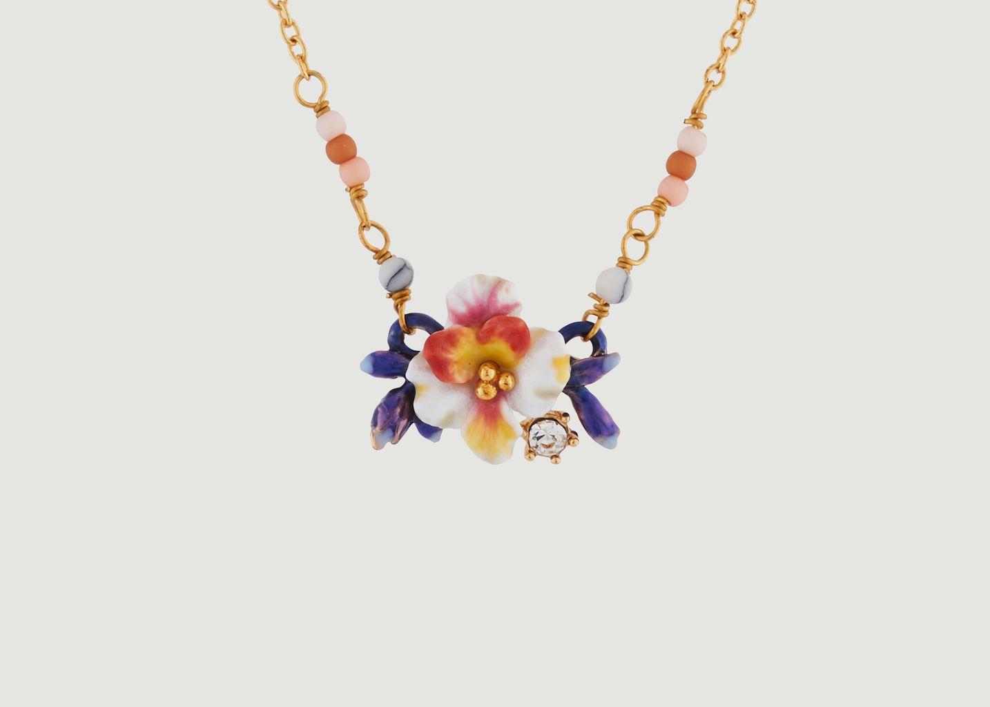 Collier Fleur Blanche et Boutons Bleus - Les Néréides
