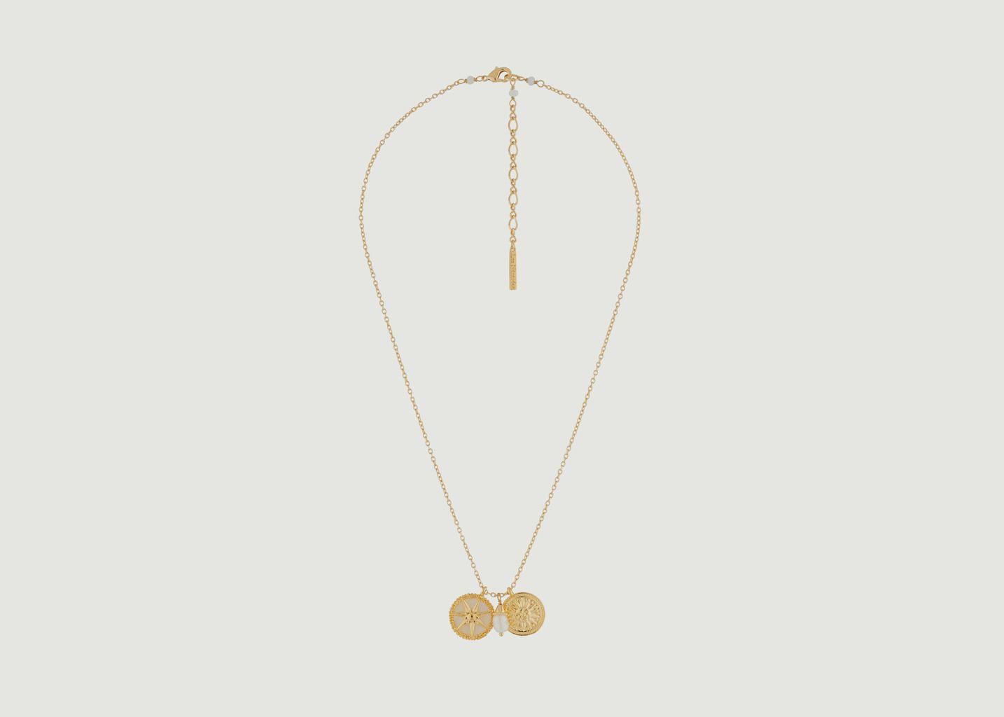 Collier Médailles Soleil Et Perle - Les Néréides