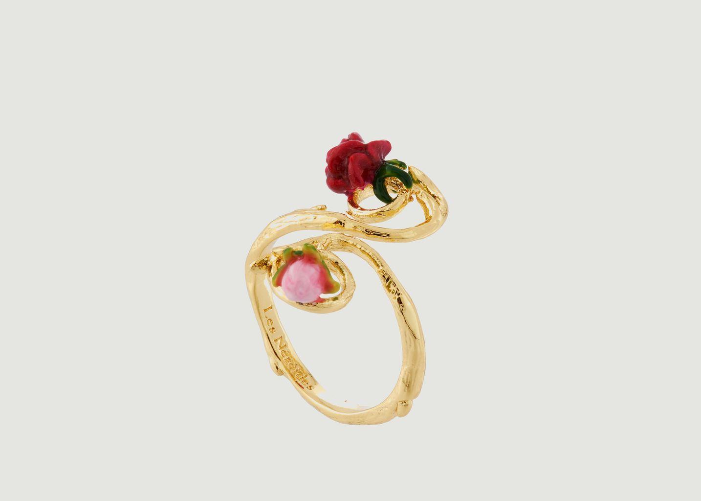 Bague Ajustable Petite Rose et Bouton  - Les Néréides