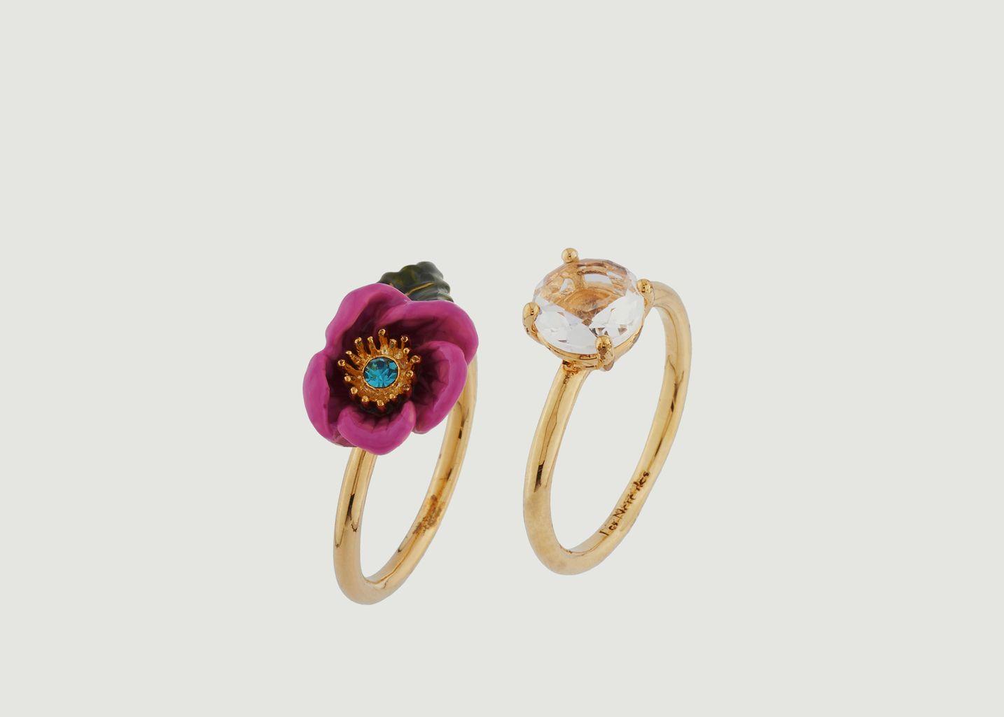Bague Double Anneaux Fleur Rose au Pistil en Strass et Verre Taillé - Les Néréides