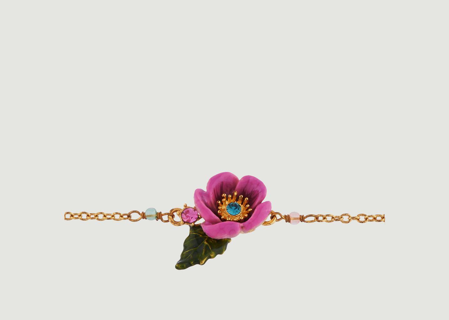 Bracelet Fleur Rose au Pistil en Strass - Les Néréides