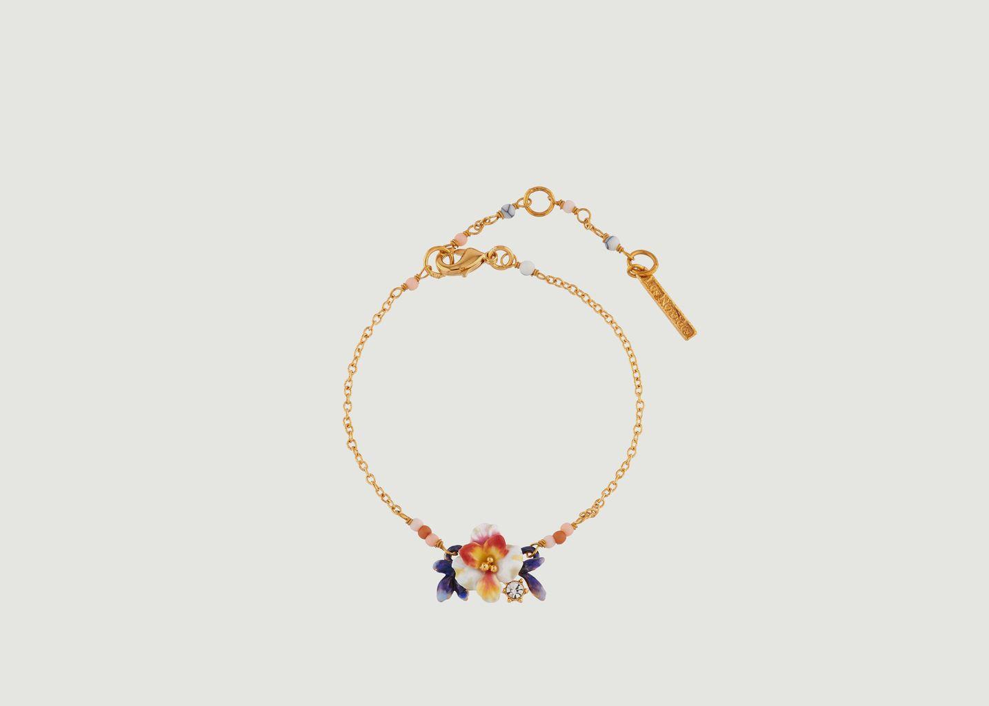 Bracelet Fleur Blanche et Boutons Bleus - Les Néréides