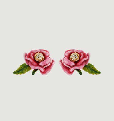 Boucles d'Oreilles Fleur Rose Et Feuille