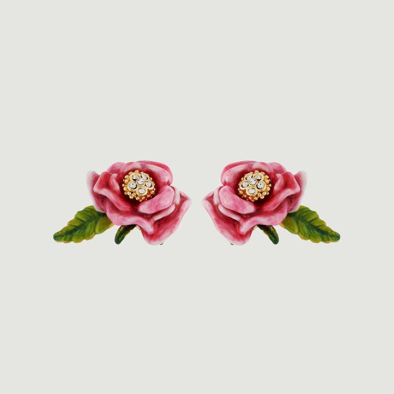Boucles d'Oreilles Fleur Rose Et Feuille  - Les Néréides