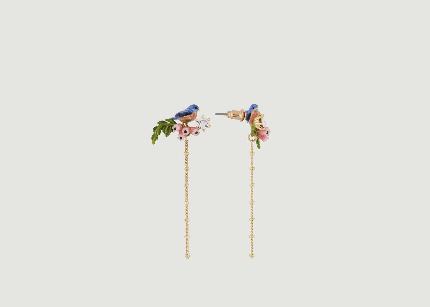Boucles d'Oreilles Mésange sur Branche en Fleurs - Les Néréides