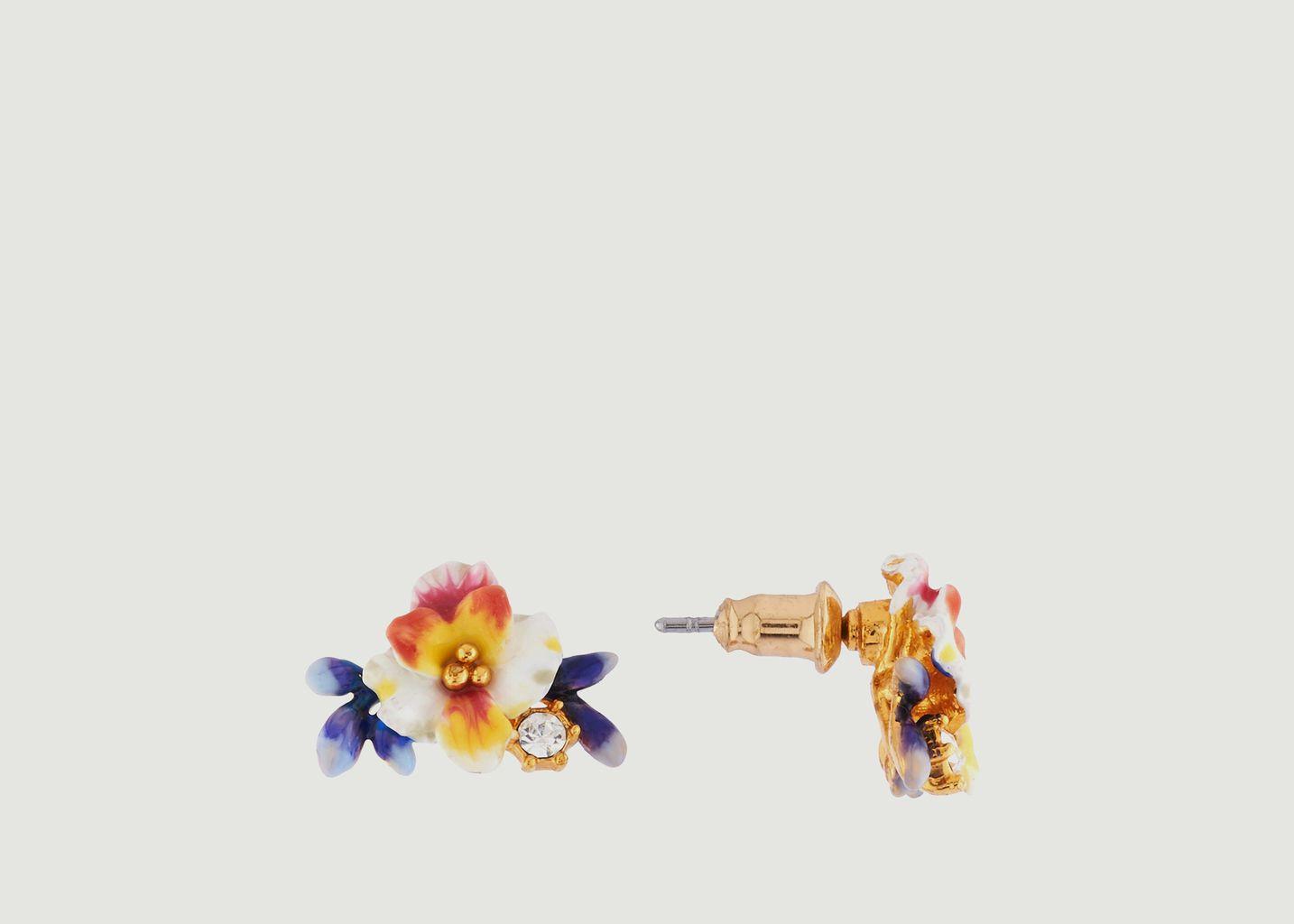 Boucles d'Oreilles Dormeuses Fleur Blanche, Boutons Bleus et Strass - Les Néréides