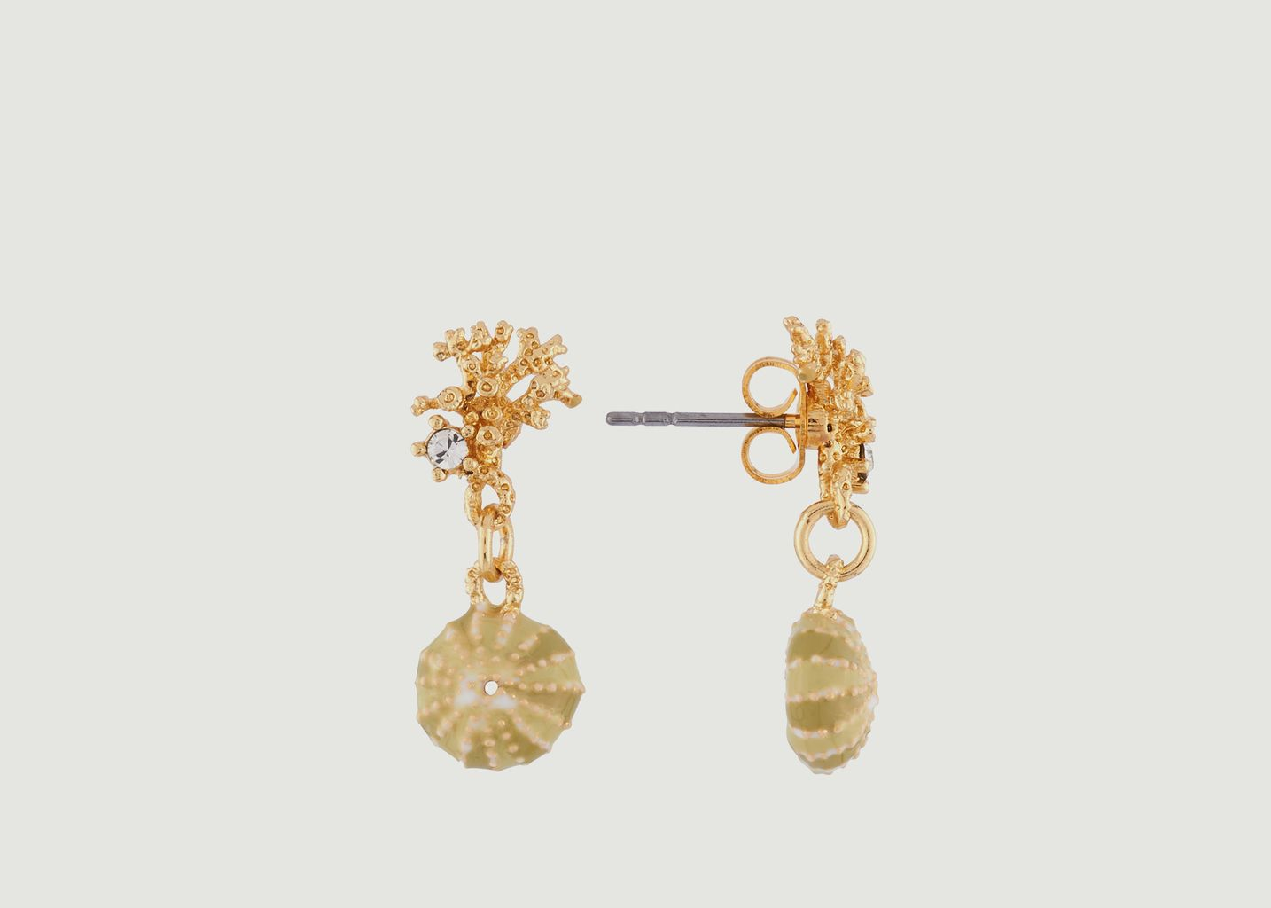 Boucles d'Oreilles Branche de Corail et Coquillage - Les Néréides