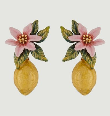 Lemon flower and lemon earrings