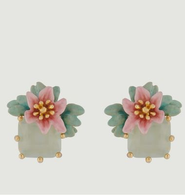 Lemon flower earrings with square stone