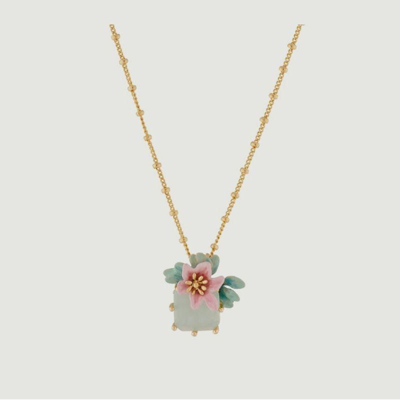 Collier fleur de citronnier et pierre carrée - Les Néréides