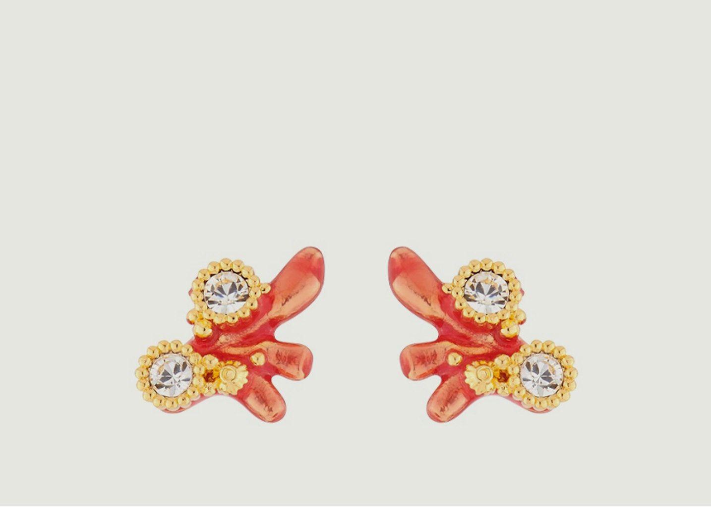 Boucles d'oreilles tiges corail et cristaux - Les Néréides