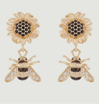 Sunflower and bumblebee earrings