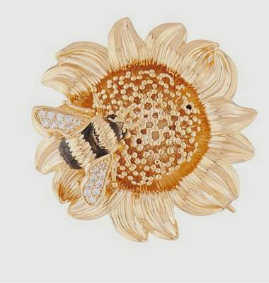 Sunflower and bumblebee brooch