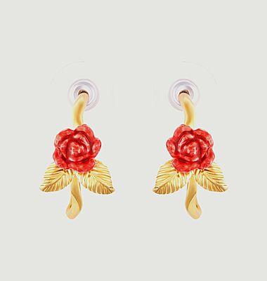 Boucles d'oreilles créoles tiges bouton de rose et feuilles