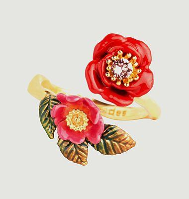 Bague ajustable duo de roses sauvages