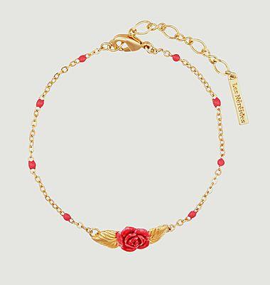 Bracelet fin ajustable bouton de rose