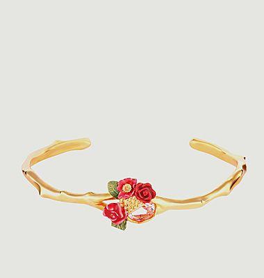 Bracelet jonc bouquet de roses sur treillis
