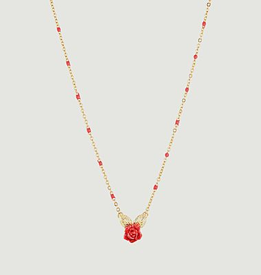 Rose bud pendant necklace