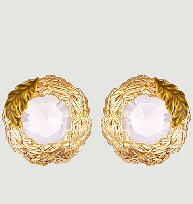 Boucles d'oreilles tiges couronne de feuilles de chêne