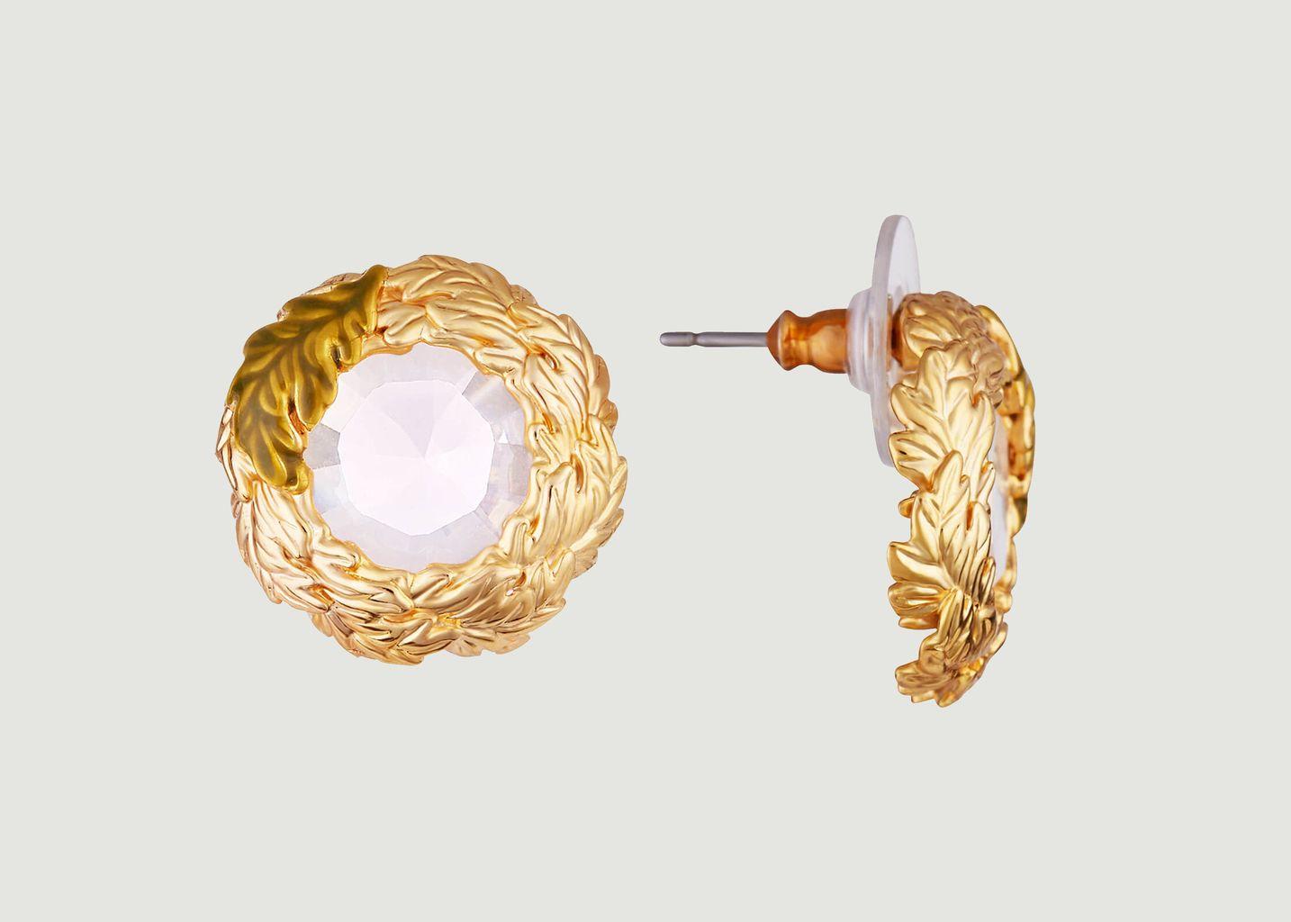 Boucles d'oreilles tiges couronne de feuilles de chêne - Les Néréides